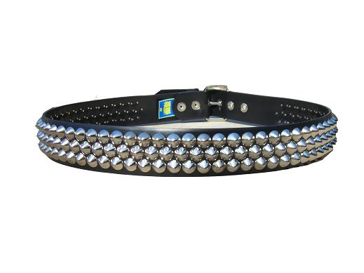 Cone Studded Nickel 3 row - (Non Leather)